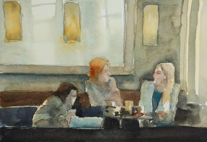 Akvarell av Espresso House Café